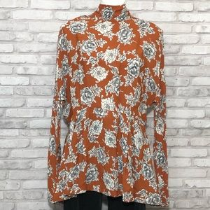 Free People floral long sleeved top